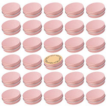 Screw Top Rose Gold Aluminum Tin Jar with Screw Lid and Blank Labels - 31pcs, 1oz