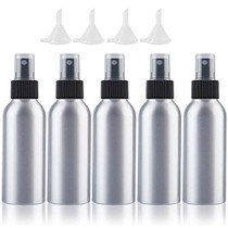 Empty Spray Bottles Travel Size 100ml/3.4oz 5 Pack Small Spray Bottle Aluminum Metal Fine Mist Refillable Atomizer Set with Lids for Liquids Skincare Cosmetic Perfume Storage, with 4pcs Small Funnels