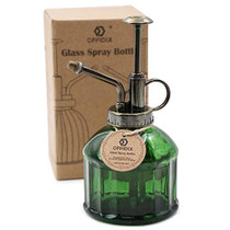 Glass Plant Mister, 6.3 Inches Tall Vintage Style Spritzer Bronze Plastic Top Pump One Hand Watering Can Indoor Plant Spray Bottle for Garden, Plants, Cleaning (Dark Green)