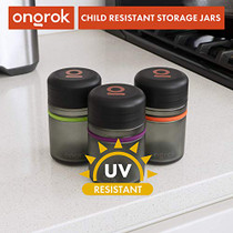ONGROK Smell Proof Storage Jar, 180ml (3 Pack) | Color-Coded Airtight Glass Containers, Jar to Stash Goods with Care, Child Resistant Lid