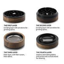 Premium Large Wooden Spice Grinder Pollen Collector with Magnetic Lid and Pollen Catcher 4 piece 2.5 inches (Black)