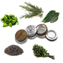 Premium Large Wooden Spice Grinder Pollen Collector with Magnetic Lid and Pollen Catcher 4 piece 2.5 inches (Silver)