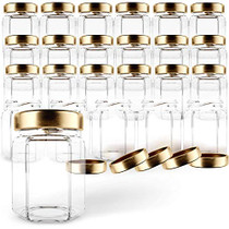 Hexagon Glass Jars 3oz Premium Food-grade. Mini Jars With Lids For Gifts, Wedding Favors, Honey, Jams And More. (24, 3oz)
