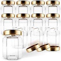 Hexagon Glass Jars 3oz Premium Food-grade. Mini Jars With Lids For Gifts, Wedding Favors, Honey, Jams And More. (12, 3oz)