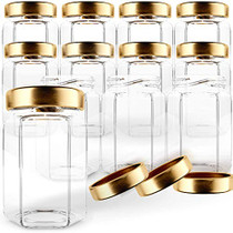 Hexagon Glass Jars 4oz Premium Food-grade. Mini Jars With Lids For Gifts, Wedding Favors, Honey, Jams And More. (12, 4oz)