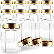 Hexagon Glass Jars 6oz Premium Food-grade. Mini Jars With Lids For Gifts, Wedding Favors, Honey, Jams And More. (12, 6oz)