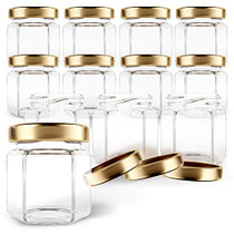 Hexagon Glass Jars 1.5oz Premium Food-grade. Mini Jars With Lids For Gifts, Wedding Favors, Honey, Jams And More. (12, 1.5oz)