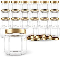 Hexagon Glass Jars 1.5oz Premium Food-grade. Mini Jars With Lids For Gifts, Wedding Favors, Honey, Jams And More. (24, 1.5oz)