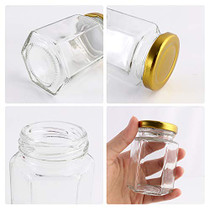 CycleMore 4oz Hexagon Glass Jars with Gold Lids, Clear Glass Canning Jars Jam Jars Bottles for Jams, Honey, Wedding Favors, Baby Foods, Gifts and Craft, DIY Spice Jars and More(Pack of 25)