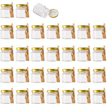 1.5 oz Clear Hexagon Jars,Small Glass Jars With Lids(golden),Mason Jars For Herbs,Foods,Jams,Liquid,Mini Spice Jars For Storage 30 Pack …