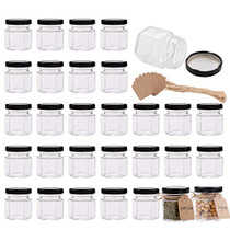 1.5 oz Clear Hexagon Jars,Small Glass Jars With Lids(black),Mason Jars For Herbs,Foods,Jams,Liquid,Mini Spice Jars For Storage 30 Pack …