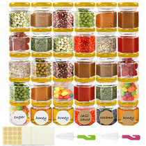 Superlele 30pcs 1.5oz Hexagon Mini Glass Jars with Gold Lids, Honey Jars Small Spice Jars For Herbs with 80pcs Stickers, 2pcs Brush for Spices, Gifts, Wedding Party Favors, DIY