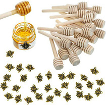 3 Inch Wood Honey Dipper Sticks and Honeybee Charm Pendants Set for Honey Jar Dispense Drizzle Honey DIY Craft Jewelry Making Accessory (74)