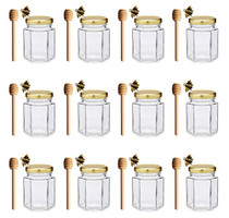 Adabocute 4 oz Hexagon Mini Glass Canning Jars (12-pack) with Gold Lid for Wedding Favors, Baby Shower, Honey, 12 pack 4'' Wooden Honey Dipper, 12 Pack Alloy Bee Honeybee Charm Pendants