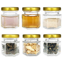 60 Pcs 1.5 oz (50ML) Hexagon Jars/Glass Jars with Gold Lids, Small Mason Jars for Wedding, Party Favors, Shower Favors, Baby Foods, Honey, Canning, spices, Herbs