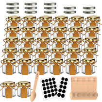 32 Pcs 1.5 oz Hexagon Jars/Glass Jars with Gold Lids, Small Mason Jars for Wedding, Party Favors, Extra 13 Silver Lids, Chalkboard Labels, Tag String, 30 Disposable Wooden Spoons Included