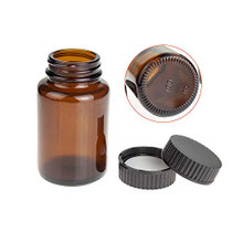 Wide Mouth Paker Bottle, Amber Glass, 100ML (3.4OZ) Capacity with 38-400 Black Polyethylene Screw Cap Lined PE Septa, Package of 24 Units