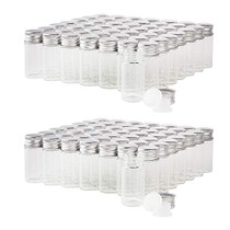 10ml Glass Vials with Screw Caps and Plastic Stoppers, Small Clear Liquid Sample Vial, Leak-Proof Vial, 100PCS
