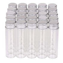 MaxMau Small Glass Bottles with Aluminum Screw lids Clear 20 Milliliter,100 Packs