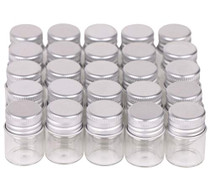 MaxMau 100 Sets Small Glass Bottles with Aluminum Cap Screw Top Lids 5 Milliliter Tiny Vials DIY Art Craft Storage