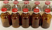 20ml Sterile Amber Injection Vials Butyl Stopper Red Flip 25 Pack