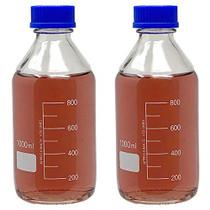 1000ml Glass Round Media Storage Bottles with GL45 Screw Cap, Borosilicate Glass, Heavy Duty, Karter Scirentific (Pack of 2)