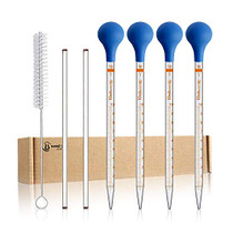 4PCS 10ml Glass Graduated Droppers Lab Pipettes Dropper Liquid Pipette with 4 Rubber Caps 2PCS 20CM Glass Stir Rod and Droppers Brush
