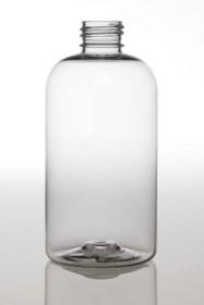 4 oz Clear PET boston round bottle with 24-410 neck finish