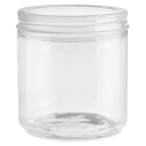 16 oz Straight-Sided Glass Jars - White metal Lid - 12/case