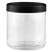 16 oz Straight-Sided Glass Jars -Black Plastic Lid - 12/case