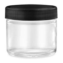 2 oz Straight-Sided Glass Jars - Black Plastic Lid - 24/case