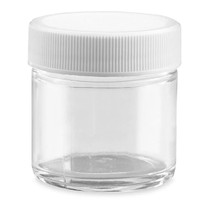 2 oz Straight-Sided Glass Jars - White Plastic Lid - 24/case