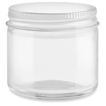 2 oz Straight-Sided Glass Jars - White Metal Lid - 24/case