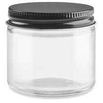 2 oz Straight-Sided Glass Jars - Black Metal Lid - 24/case