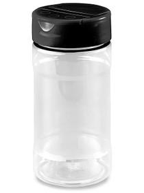 Plastic Spice Jars - 8 oz, Black Cap - Case of 48