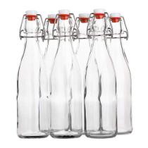Flip Top Glass Bottle [500 ml/ 16 fl. oz.] [Pack of 6] Reusable Swing Top Brewing Bottle with Stopper for Beverages, Oil, Vinegar, Kombucha, Beer, Water, Soda, Kefir Airtight Lid & Leak Proof