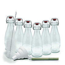 mockins Set of 6 | 8.5 Oz. Glass Bottle Set with Swing Top Stoppers and Includes Bottle Brush , Funnel and Gold Glass Marker | Clear Glass Water Bottle