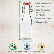WILLDAN Set of 6-8.5oz Swing Top Glass Bottles - Flip Top Brewing Bottles For Kombucha, Kefir, Vanilla Extract, Beer - Airtight Caps and Leak Proof Lids, Bonus Gaskets and Funnel
