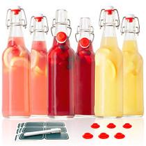 Otis Classic Swing Top Glass Bottles - Set of 6, 16oz w/ Marker & Labels - Clear Bottle with Caps for Juice, Water, Kombucha, Wine, Beer Brewing, Kefir Milk or Eggnog