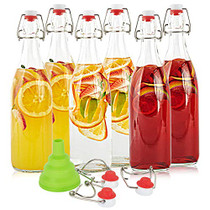 Swing Top Glass Bottles 34oz Flip Top Airtight Brewing Bottle (6 Pack) with Free 3 Stoppers 1 Funnel 6 bonus gaskets for Kombucha, Beer, Oil and Vinegar, Beverages, Homemade Juices