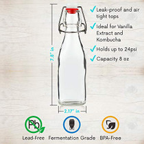 WILLDAN Set of 6-8.5oz Swing Top Glass Bottles - Flip Top Brewing Bottles For Kombucha, Kefir, Vanilla Extract, Beer - Airtight Caps and Leak Proof Lids, Bonus Gaskets and Funnel-1618188835