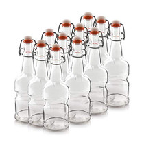 16oz Amber and Clear Kombucha/Beer Bottles Designed for a Better Grip/Non Slip with Easy Cap (Clear, 12 Bottles)