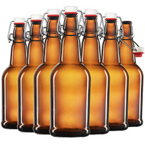 Amber Glass Swing Top Beer Bottles - 16 Ounce (6 Pack) Grolsch Bottles, with Flip-top Airtight Lid, for Carbonated Drinks, Kombucha, 2nd Fermentation, Water Kefir, UV Protection Brewing Bottle.