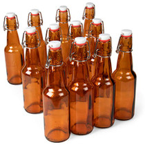11 oz. Amber Glass Grolsch Beer Bottles Airtight Seal with Swing Top/Flip Top Stoppers - Supplies for Home Brewing & Fermenting of Alcohol, Kombucha Tea, Wine, Homemade Soda (12-pack)