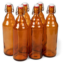 33 oz. Amber Glass Grolsch Beer Bottles, Quart Size Airtight Seal with Swing Top/Flip Top - Supplies for Home Brewing & Fermenting of Alcohol, Kombucha Tea, Wine, Homemade Soda (6-pack)