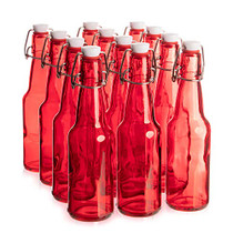 11 oz. Red Glass Grolsch Beer Bottle, Quart Size - Airtight Seal with Swing Top/Flip Top - Supplies for Home Brewing & Fermenting of Alcohol, Kombucha Tea, Wine, Homemade Soda (12-pack)