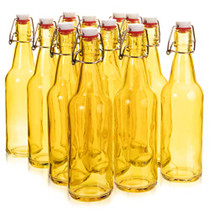 16.9 oz. Yellow Glass Grolsch Beer Bottle, Quart Size - Airtight Seal with Swing Top/Flip Top - Supplies for Home Brewing & Fermenting of Alcohol, Kombucha Tea, Wine, Homemade Soda (12-pack)