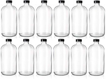 Set of 12-32oz Boston Clear Glass Bottles - Brewing Bottles for Kombucha, Kefir, Beer - Airtight Poly-Cone Sealing for Leak Proof Bottling