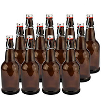 Home Brewing Glass Beer Bottle with Easy Wire Swing Cap & Airtight Rubber Seal   Amber   16oz   Case of 12   by Chef's Star