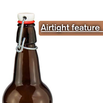 Home Brewing Glass Beer Bottle with Easy Wire Swing Cap & Airtight Rubber Seal | Amber | 16oz | Case of 12 | by Chef's Star